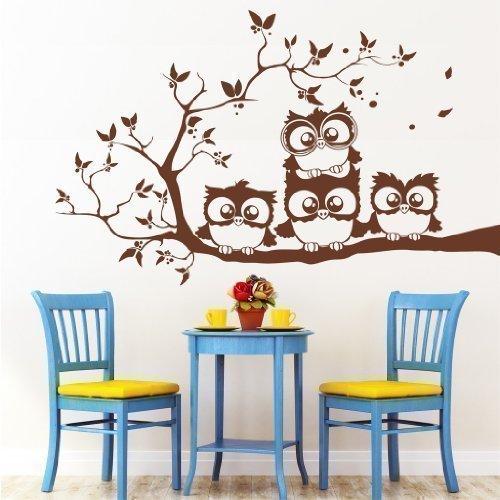 Wandtattoo-Loft Sticker Mural : Quatre Mignonne Hiboux sur Une Branche/49 Couleurs/4 Tailles - Noir, 55 x 90 cm