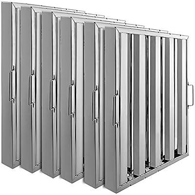 VBENLEM Set of 6 Restaurant Hood Filter 19.5W x 19.5H Inch 430 Stainless Steel Hood Filter with 4 Grooves Range Hood Filter for Commercial Kitchen
