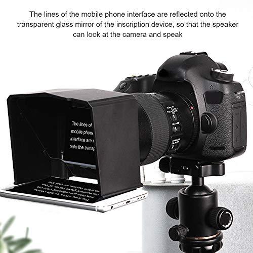 Teleprompter, Draagbare Smart Phone Teleprompter met Lens Adapter Rings Kit, Wordt geleverd met 8 Adapter Ringen, Past op elke Camera met Lens Diameter Van 49mm tot 77 mm