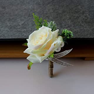 Febou Boutonniere 2PCS Wedding Boutonniere Handmade Rose Boutonniere Corsage with Pin and Clip for Groom Bridegroom Groomsman Perfect for Wedding, Prom, Party (Boutonniere, H-Champagne)