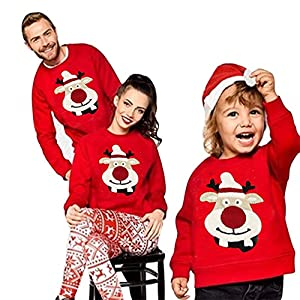 Puimentiua クリスマス 親子服 トップス コスプレ 裏起毛 コスチューム tシャツ カットソー ベビー はは パパ サンタクロース コスチューム
