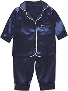 MAINESAKA Toddlers Little Boy Girls Satin Pajamas Set Button-Down Pjs Clothes Short Sleeve