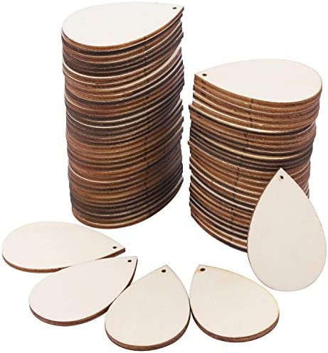 150 Pieces Unfinished Blank Wood Teardrop Earring Pendant for Christmas Tree Decoration Jewelry product image