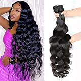Body Wave Human Hair Bundles Brazilian Human Hair Body Wave 4 Bundles (24 26 28 30 inch) 100% Virgin Remy Unprocessed Natural Black Color Human Hair 4 Bundles for Black Women