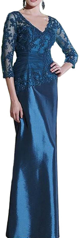 Avril Dress Lace 3 4 Sleeve Taffeta VNeck Long Mother of Bride Evening Dress