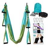 Yoga Hammock, Aerial Yoga Swing Set, Ultra Strong Antigravity Yoga Hammock/Sling/Inversion Tool for Gym Home Fitness (Green&Blue)