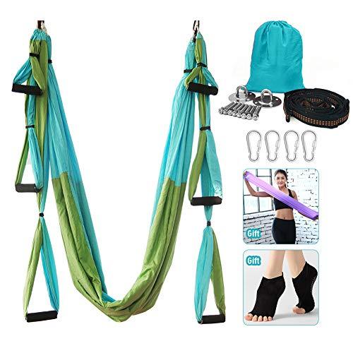 Hamaca de yoga, juego de columpio de yoga aéreo, ultra fuerte antigravedad yoga Hamaca/hendida/herramienta de inversión para gimnasio en casa fitness (verde y azul)