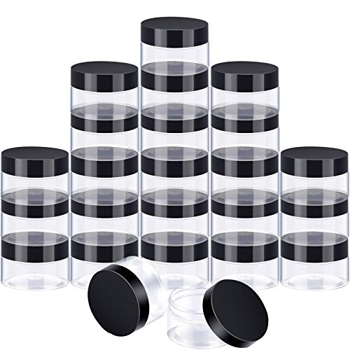 24 Pieces Clear Plastic Round Storage Jars Wide-Mouth Plastic Containers Jars with Lids for Storage Liquid and Solid Products Black Lid 4 oz
