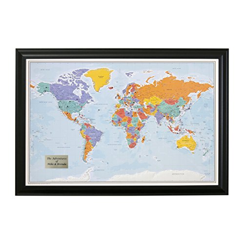Personalized Push Pin World Travel Map with Black Frame and Pins - Blue Oceans - 27.5 inches x 39.5...