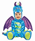 Little Dragon Fancy Dress Costume. Tuta peluche blu e verde. Coda di Spike allegata. Le ali staccabili. Chiusure a scatto sulle gambe.