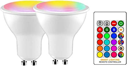 GU10 LED Light Bulb Color Changing 16 Colors 10W Dimmable White RGB LED Light Bulbs with Remote Control, Great for Home De...