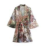 Mini Vestido de Mujer a la Moda con Estampado Floral con Cuello en V y Lazo en la Cintura Vestido Corto de Verano Vintage de Manga Larga con Abertura Lateral