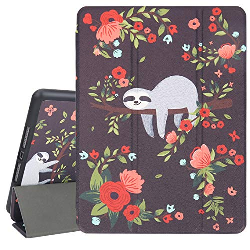 Hi Space iPad 10.2 Case Sloth 2019 Flower iPad 7th Generation Case with Pencil Holder, Cute Animal Black Slim Hard Back Shell Protective Shockproof Cover with Auto Sleep/Wake for A2197 A2198 A2200