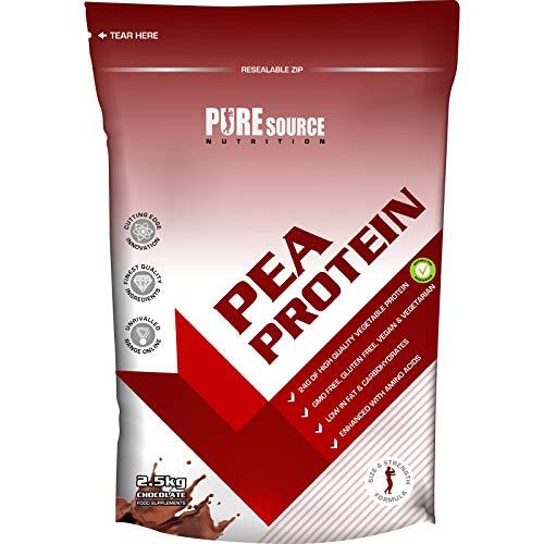 Pure Source Nutrition 100% Vegan Pea Protein Isolate 2.5KG / 2500g Chocolate Vegetarian Protein Powder Shake
