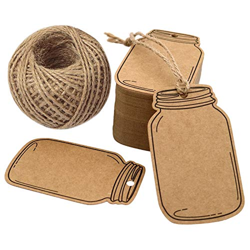 """2.9"""" X 1.7"""" Vintage Style Mason Jar Shaped Tags,100PCS Brown Kraft Paper Gift Tags with 100 Feet Natural Jute Twine for DIY and Craft, Canning Jars and Party Favors"""