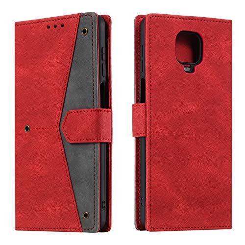 HOUSIM Hülle für Xiaomi Redmi Note 9 Pro/Note 9S Handyhülle mit Kartenfach Klappbar Schutzhülle Leder Tasche Flip Hülle für Redmi Note 9 Pro/Note 9S - HOHHA180249 Rot