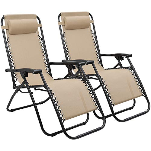 Devoko Patio Zero Gravity Chair Outdoor Folding Adjustable Reclining Chairs Pool Side Using Lawn Lounge Chair with Pillow Set of 2 (Beige)