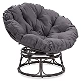 BELLEZE Papasan Chair with Fabric Tufted Cushion and Sturdy Steel Frame, 360-Degree Swivel, Dark Grey