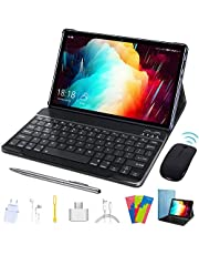 Tablet 10 inch, HD Touchscreen 2-in-1 Tablet with Keyboard Case Computer Quad-Core 1.3Ghz Processor 4G+64GB Harddrive Android 9.0 GO Tablets, Support 3G Phone Call, Type-C,BT4.2 GPS FM 4G WiFi