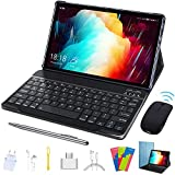 Tablet 10.1 inch, 2 in 1 Tablet with Keyboard Case Quad Core 1.3Ghz Processor, Android 9.0 GO Tablets, HD 1280 x 800 IPS Display, Type-C,BT4.2,WiFi,64GB Storage, Metal Body-Blue