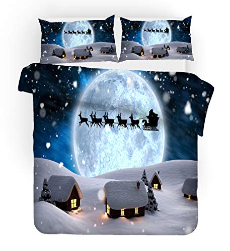UOUL 3-piece set of bedding high-definition 3D Christmas polyester fiber bedding is soft comfortable and easy to clean,A,Twin