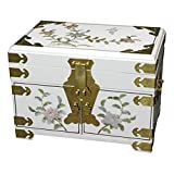 Oriental Furniture Daisi Jewelry Box w/Mirror - White