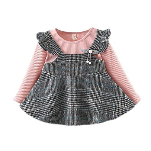 INLLADDY Kleid Baby Mädchen Langarm Strickoberteil Gestreiftes Plaid Kleid Prinzessin Kleid Lässig Rosa 80