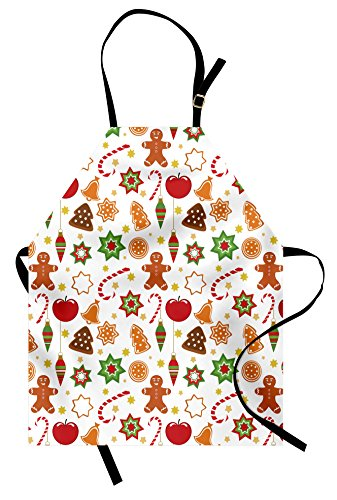 Ambesonne Gingerbread Man Apron, Christmas Graphic Pattern Star Cookies Apples Bells, Unisex Kitchen Bib with Adjustable Neck for Cooking Gardening, Adult Size, Red Cinnamon