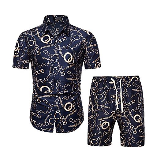 Chándal de verano para hombre, 2 piezas, diseño floral, camisa hawaiana y pantalones cortos ajustables, suave y cómodo, ropa de calle