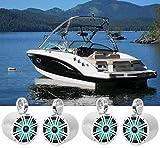 4) KICKER 45KM84L 8' 1200 Watt Marine Boat Wakeboard Tower Speakers w/LED's KM8
