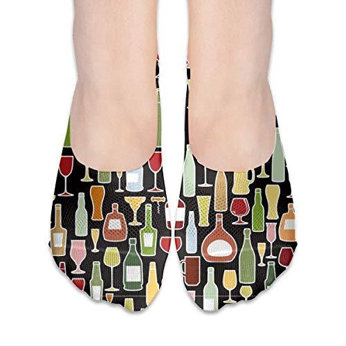 Socken für Frauen für Weinflaschen und Weingläser, tiefgeschnitten, unsichtbare Socken