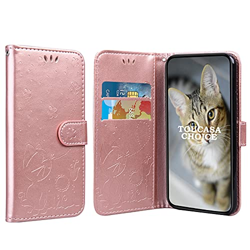 TOUCASACHOICE Funda para Samsung Galaxy J5 Prime, Diseño de Gato y Abeja en Relieve Case PU Cuero Case Protectora Cartera Soporte Plegable Función Fundas Case Cover (Oro Rosa)