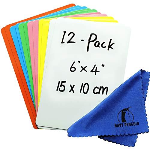 Iman Pizarra para Nevera - Pack 12-15x10cm Etiquetas Notas Pizarra Blanca Magnética - Pequeña Etiquetas Tiras Magnéticas para Cocina, Hogar, Oficina y Clase