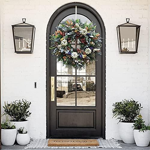 Ghirlanda di zucche bianche di ranuncolo 40,6 cm classica decorazione per porta d'ingresso, splendida ghirlanda di zucche bianca autunnale, ghirlande di zucca, per porte d'ingresso esterne e interne