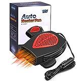 Newest Upgrade 12V/150W Car Heater Portable Fan Heater & Cooler Defrost Defogger Space Automobile 3-Outlet Plug Adjustable Thermostat(Red)