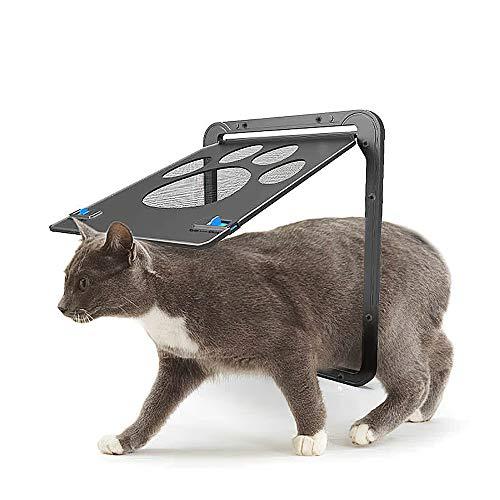 Decdeal Puerta de Malla para Mascotas Perros Puerta Magnética con Solapa Pantalla Negra Bloqueable Automática para Cachorros Gatitos Pequeños