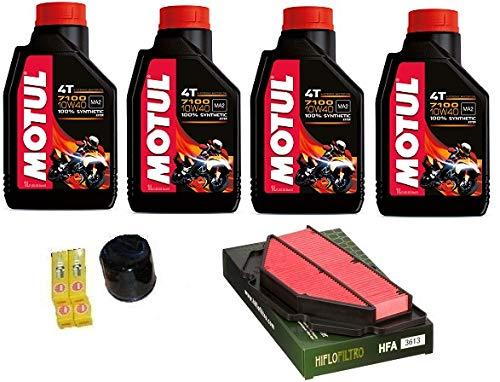 Kit revisión Suzuki GSR 600 2006 aceite Motul 7100 10w40 + filtros + bujías