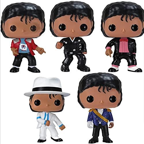 NWEC 5 Pièces Pop Vinyle Michael Jackson Figurines Vinyle Figurine 10Cm PVC Poupées Anime Figure Jouets Collection Modèle Cadeau Garçons