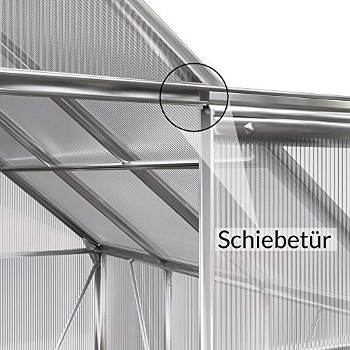 Beistell Gewächshaus 3,65 m³ Alu Fundament Stahlfundament Gartenhaus Pflanzenhaus Treibhaus