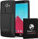 Batterie externe Powerbear pour LG G4de 6500mAh, coque arrière et coque de protection (jusqu'à 2,15fois de puissance de batterie supplémentaire)-Noir