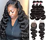 West Kiss Hair 8A Brazilian Human Hair Body Wave 3 Bundles With 4×4' Free Part Closure 100% Unprocessed Bundles Weave Virgin Hair Natural Color (16 18 20 & 14 inch)