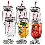 MASTERTOP 6 Botellas de Vidrio 500ML con Tapas y Pajitas Mason Jars Transparente sin BPA Tarros de Cristal Multifuncionales con Calibre Grande Vaso de Vidrio con 12 Tapas y 6 Pajitas