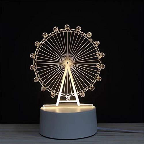3D LED Lampe Nachtlicht - Optical Illusion Lampe Acryl mit USB-Kabeln Schlafzimmer Schreibtisch Tischdekoration Geschenk für Kinder Raum Dekor (Riesenrad)