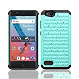 Phone Case for ZTE AVID 557 (Consumer Cellular) Studded Rhinestone Crystal Bling Cover Case (Teal)