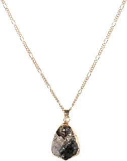 Haluoo_Jewelry Gemstone Drop Necklace,Haluoo Women Fashion Waterdrop Crystal Pendant Necklace Lady Delicate Shiny Gradient Gem Irregular Triangle Pendant Necklace Girls Magical Birthstone Necklace