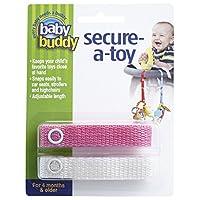 Baby Buddy ベビー バディ Secure-A-Toy 2ct おもちゃストラップ2色各1本組 【アメリカ製】 Pink&White ピンク&ホワイト