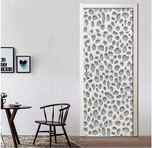 Fris en eenvoudiger wit onregelmatige lichaam 3D zelfklevende verwijderbare waterdichte kunstdeursticker decoratieve deurwand DIY muursticker 95 * 215cm