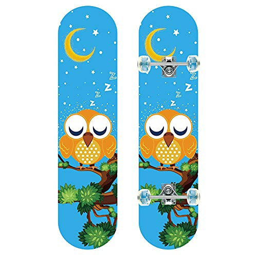 GCJJ-HSY MUXIA 31-inch Colored Sand With Flashing Wheels,7-layer Canadian Maple Double Kick Concave Cruiser Skill Skateboard,Birthday Gift For Boys And Girls(small Lazy Eagle)