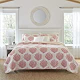 Laura Ashley Coral Coast Collection Quilt Set-100% Cotton, Reversible, All Season Bedding, Includes Matching Sham(s), King