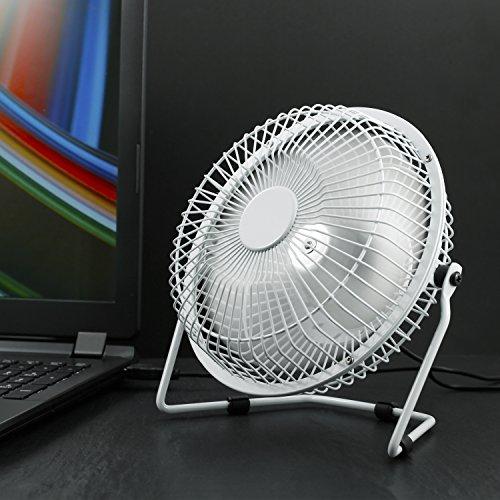 CSL - USB Ventilator 17cm - Tischventilator Fan - Gehäuse Rotorblätter aus Metall - PC Notebook - in weiß